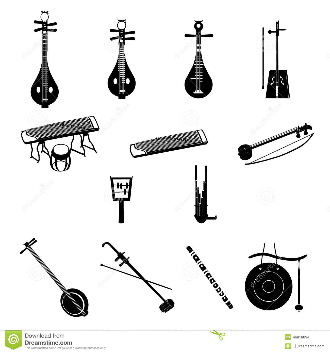 Different Chinese Musical Instruments Stock Vector