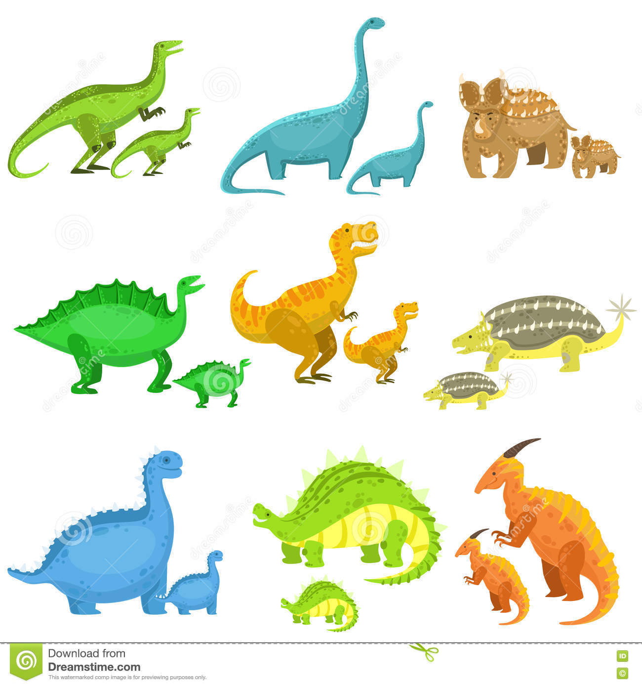 Different Dinosaurs In Pairs Of Big And Small Stock Vector