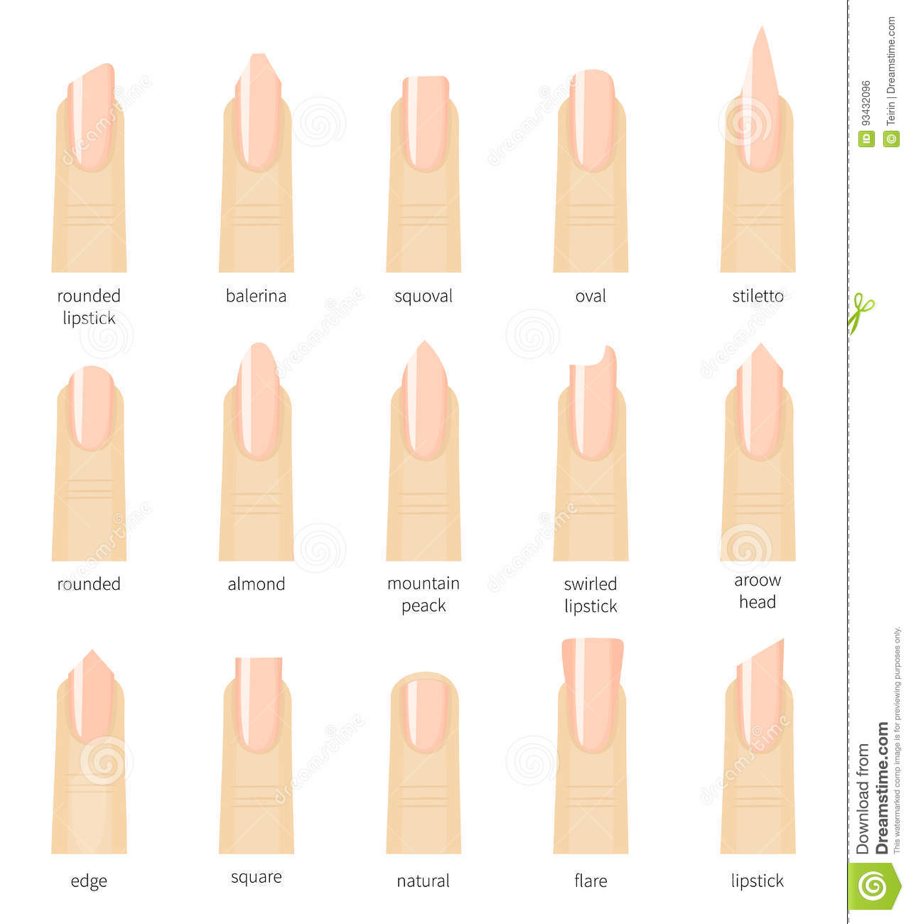 Different Fashion Nail Shapes Set Kinds Of Nails Salon Nails Type Trends Stock Vector