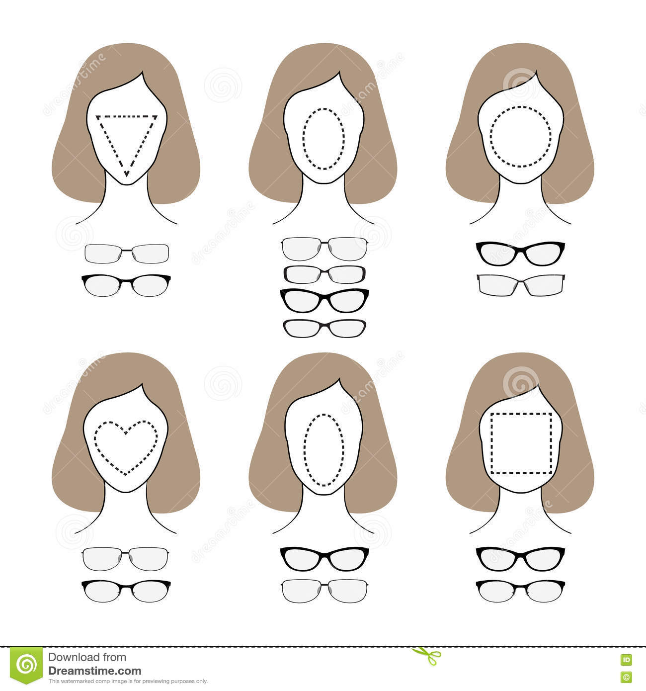 Woman Face Shape Types Cartoon Vector