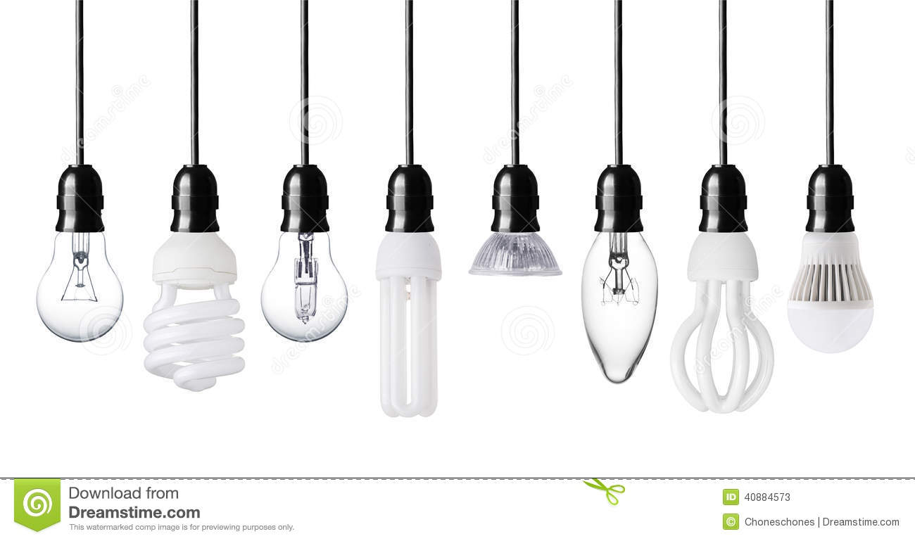 Different Light Bulbs Stock Photo