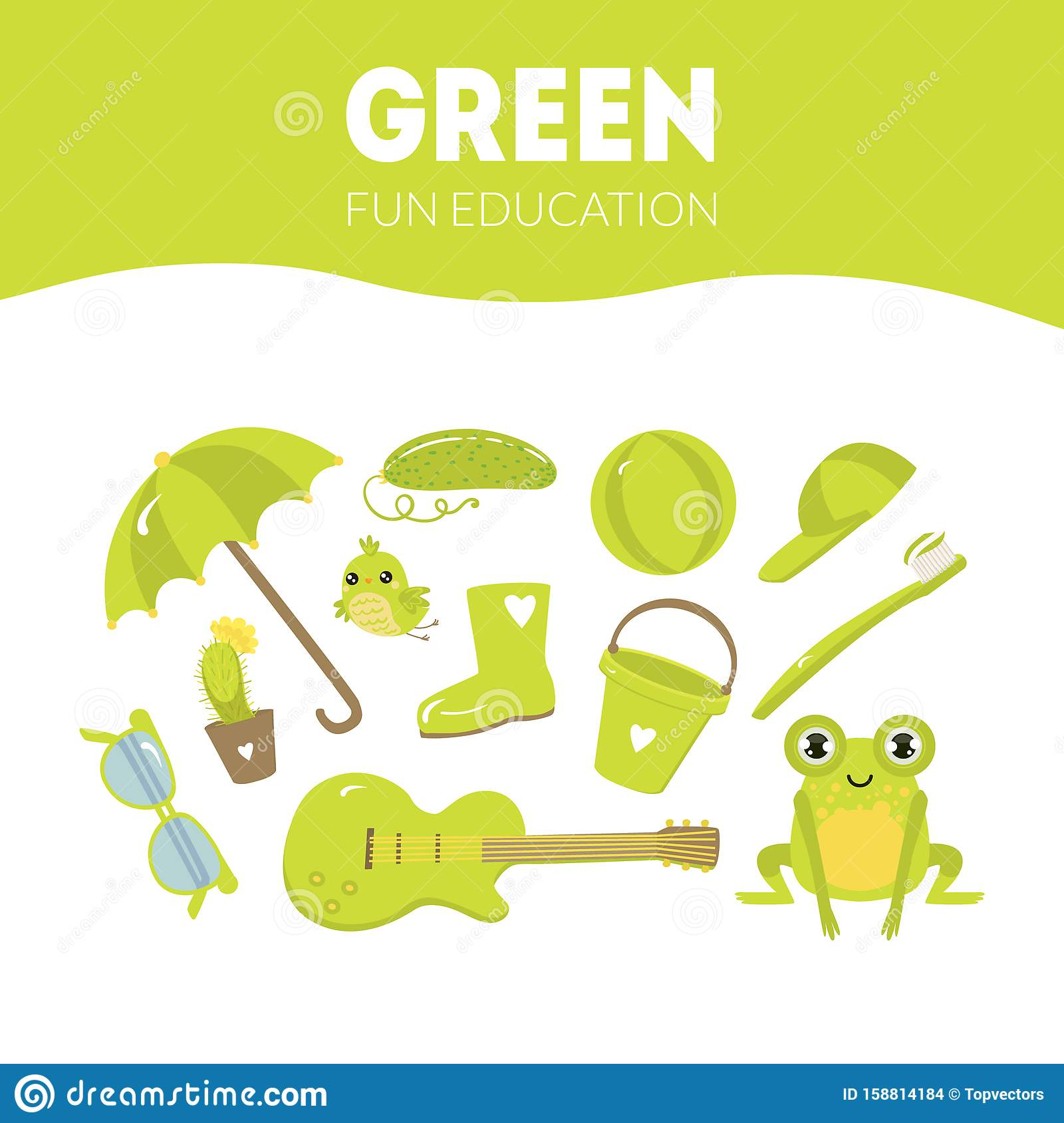 Different Objects In Green Color Fun Educational Game For