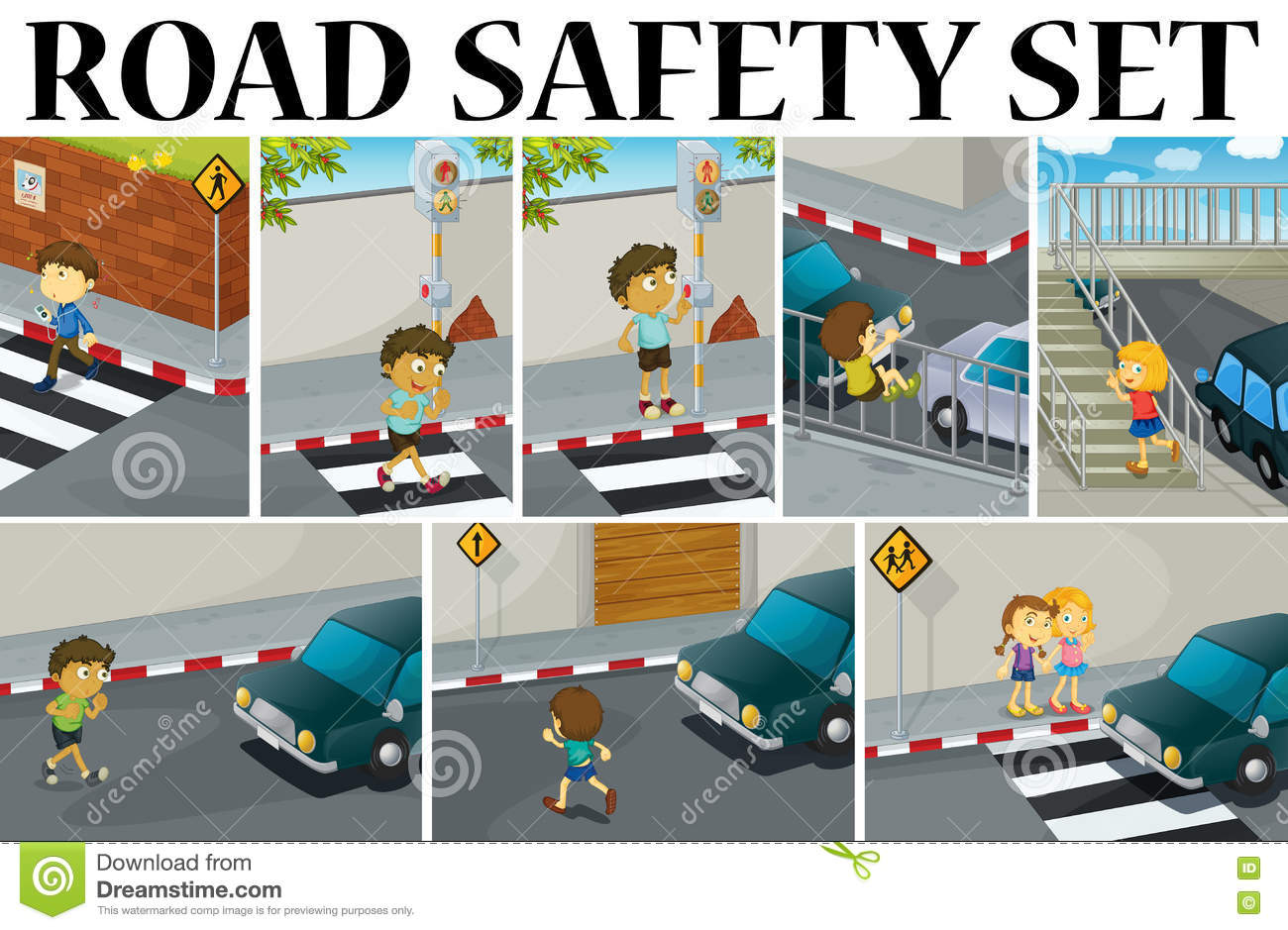 Different Scenes With Road Safety Stock Vector