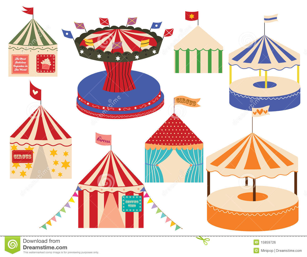 Different Sets Of Circus Big Tops Stock Vector
