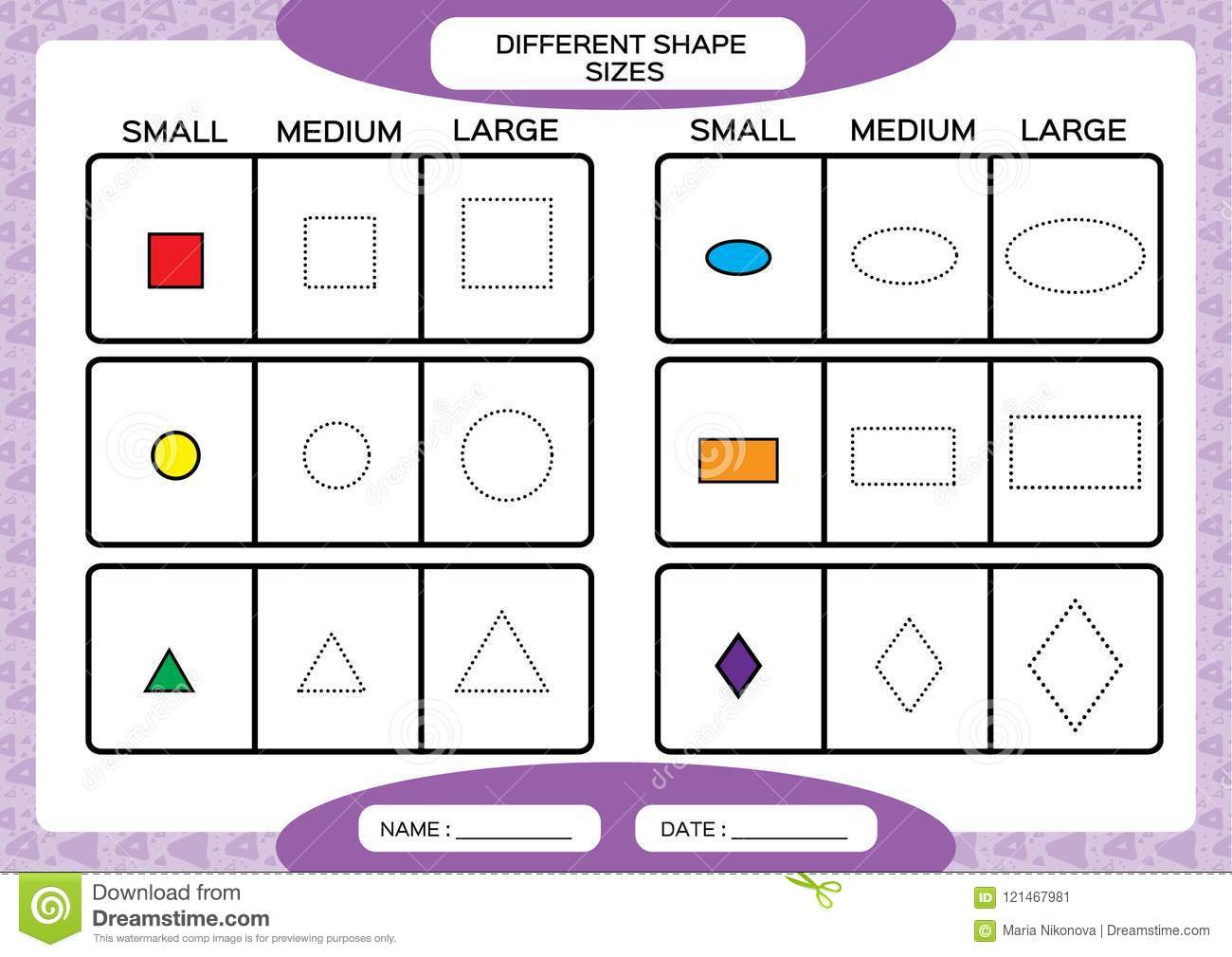 Different Shape Sizes Small Medium Large Learning