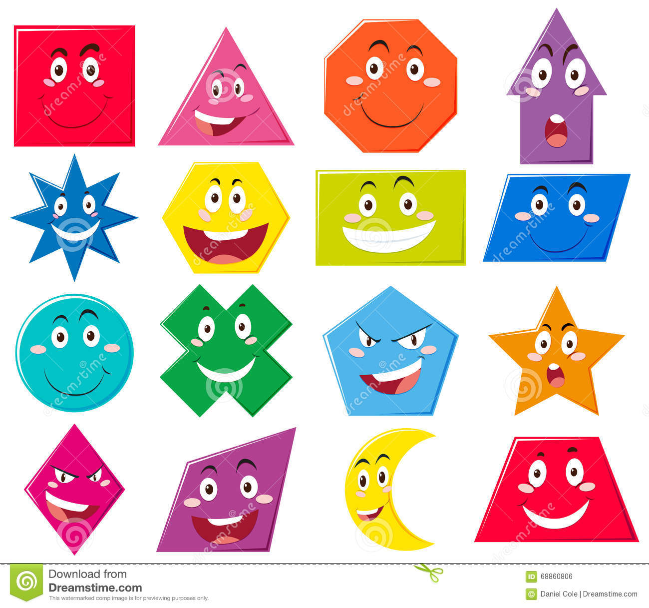 Different Shapes With Facial Expressions Stock Vector