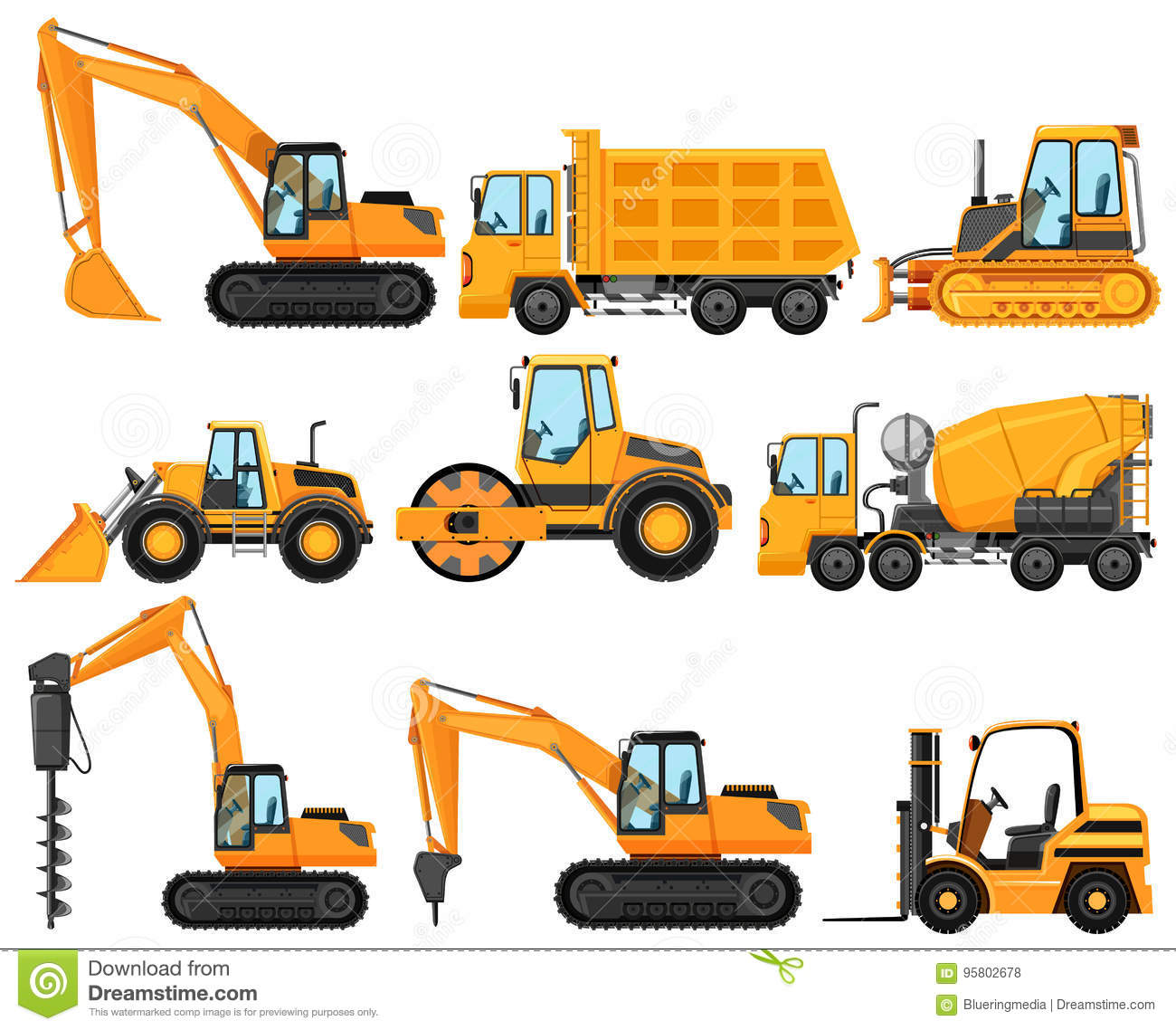 Different Types Of Construction Trucks Stock Vector