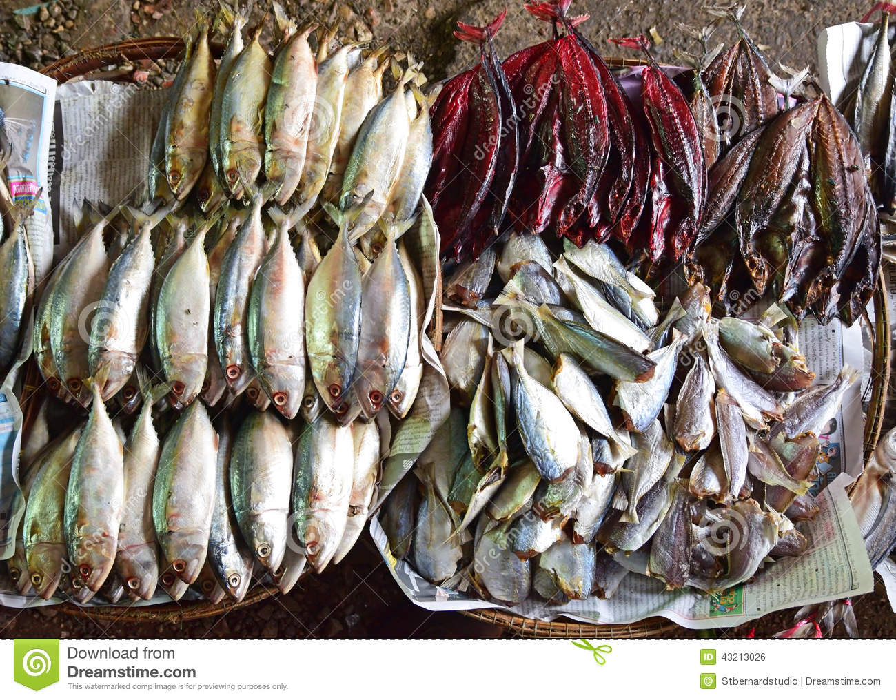 Different Types Of Dried Fish For Sale On Display Stock