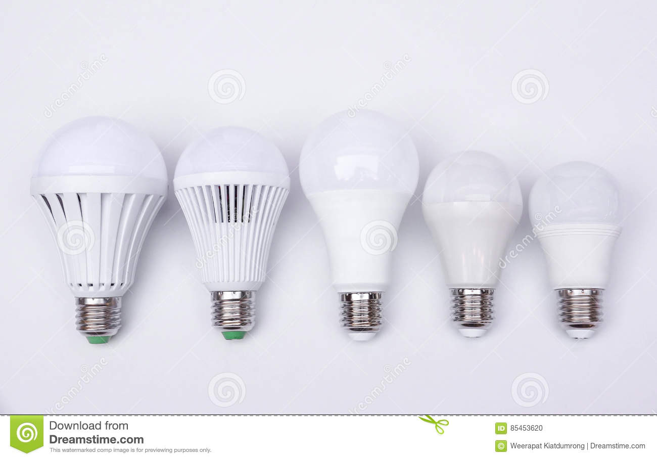 Different Types Of Led Light Bulbs Stock Photo