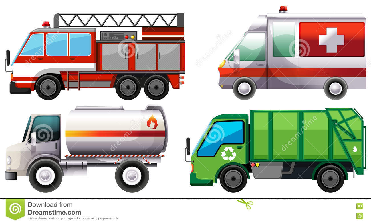 Different Types Of Service Trucks Stock Vector
