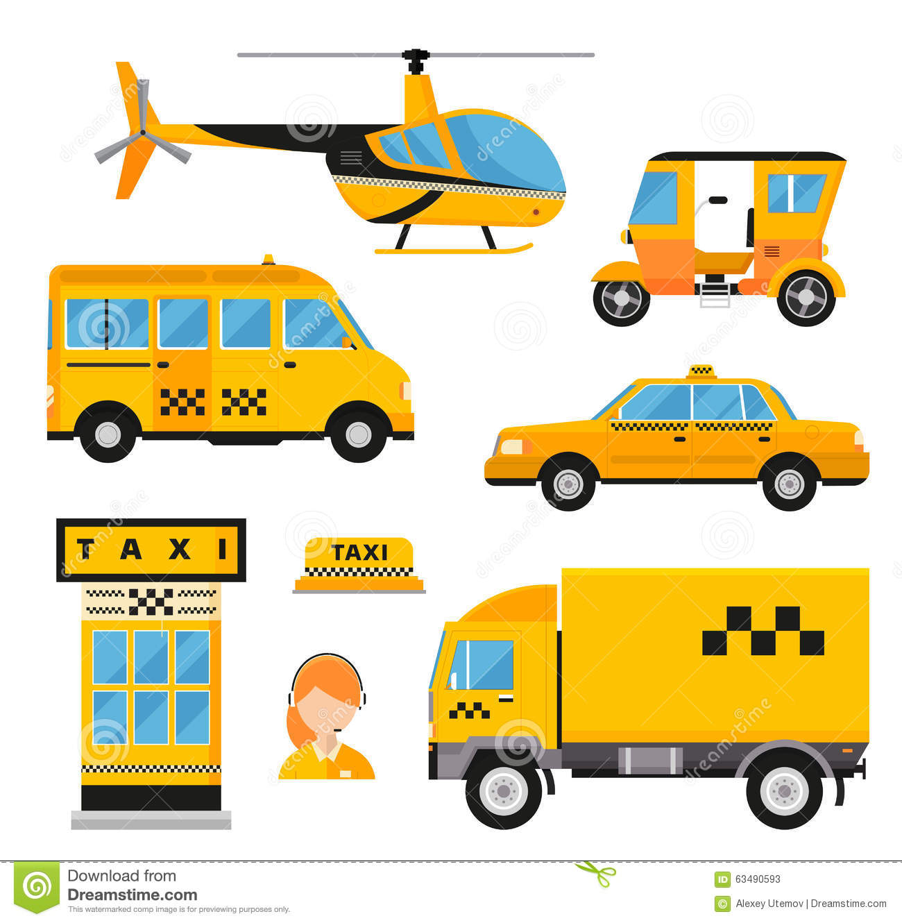 Different Types Of Taxi Transport Cars Stock Vector