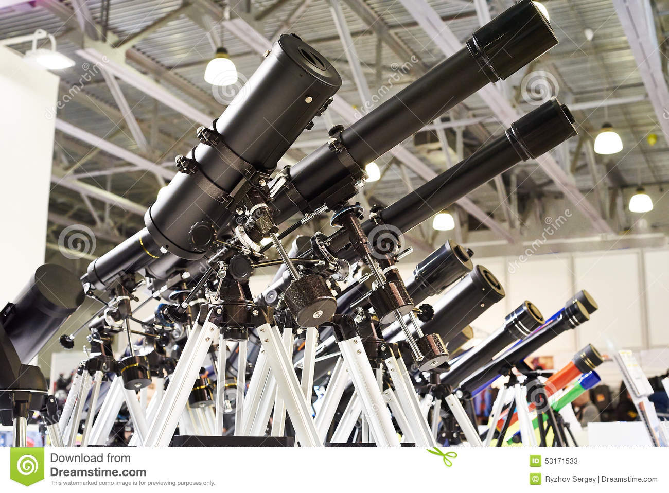 Different Types Of Telescopes At Exhibition Stock Image