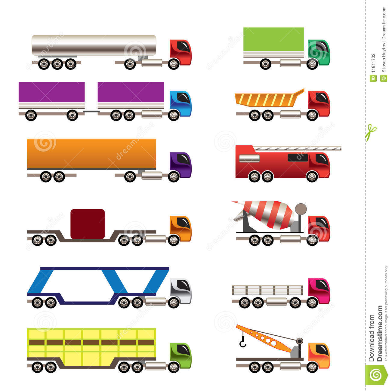 Different Types Of Trucks And Lorries Icons Stock
