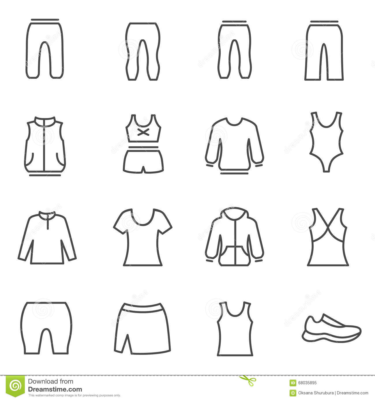 Different Types Of Woman S Sport Clothes Stock Vector