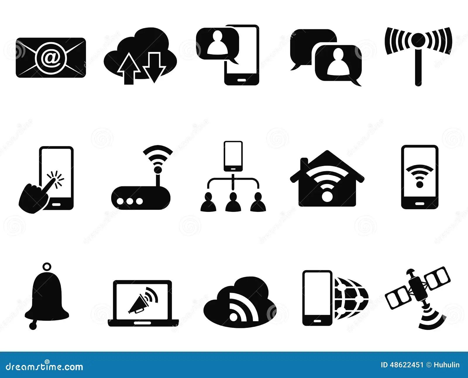 Digital Communication Icons Set Stock Vector
