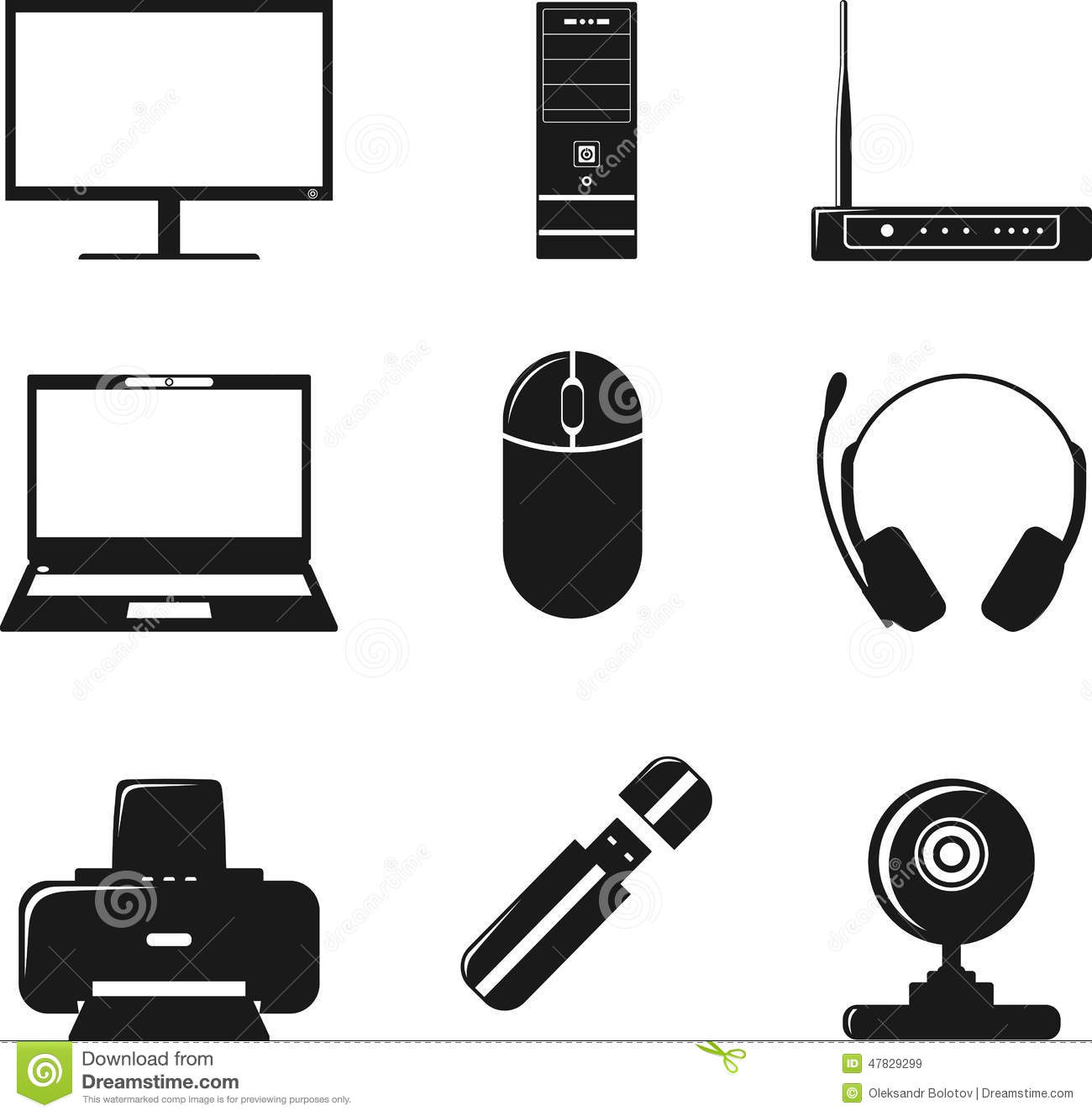 Computer Equipment Simple Icons Stock Photography