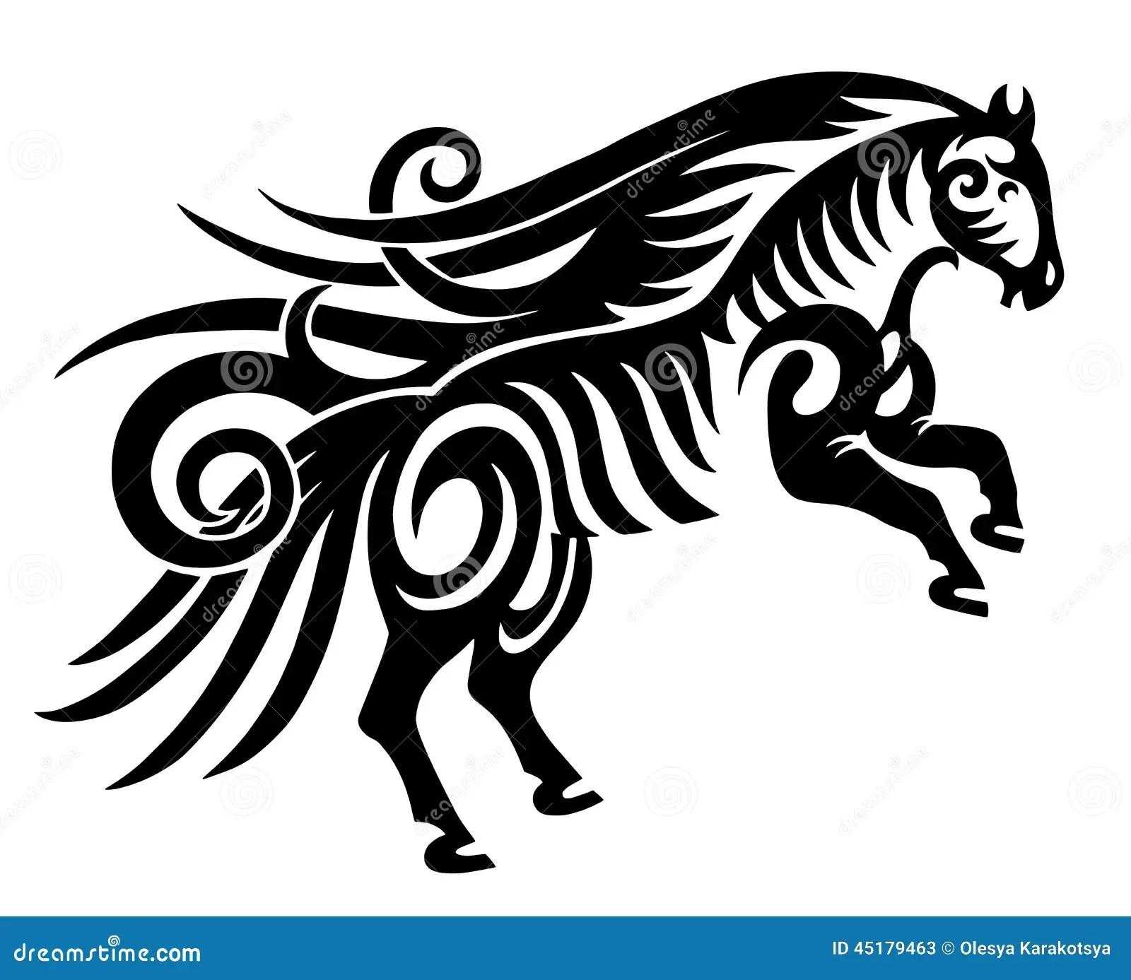 Digital Drawing Of Black Tribal Horse Silhouette Stock
