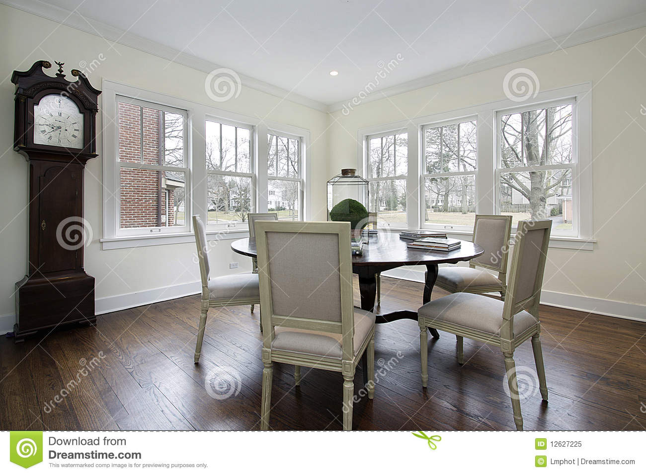 Dining Room With Grandfather Clock Royalty Free Stock