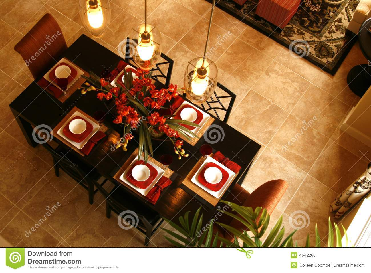 Dining Room Table From Above Stock Photo Image Of White
