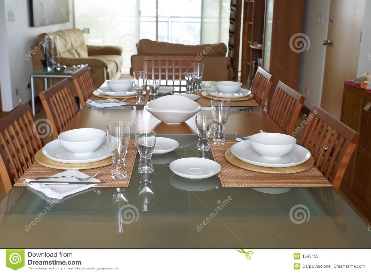 Dining Room With Table Setting Stock Image Image 1543153