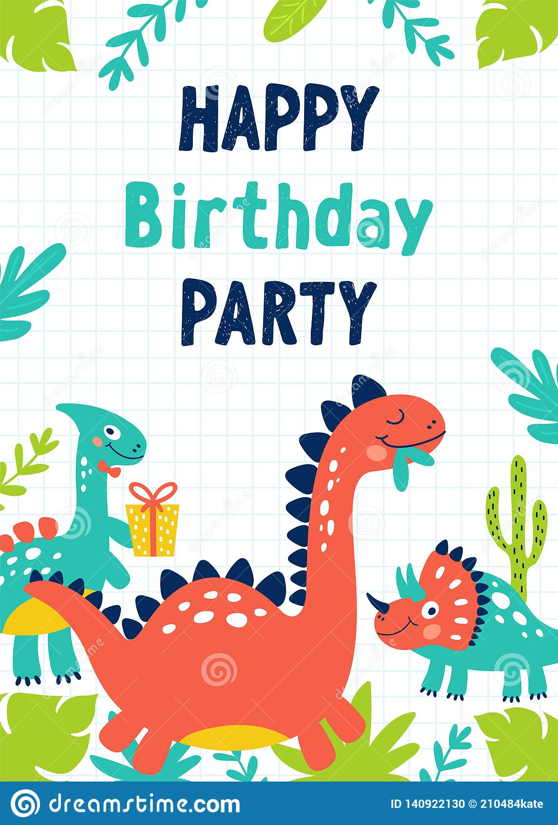 https www dreamstime com dinosaur birthday party invitation vector illustrations image140922130