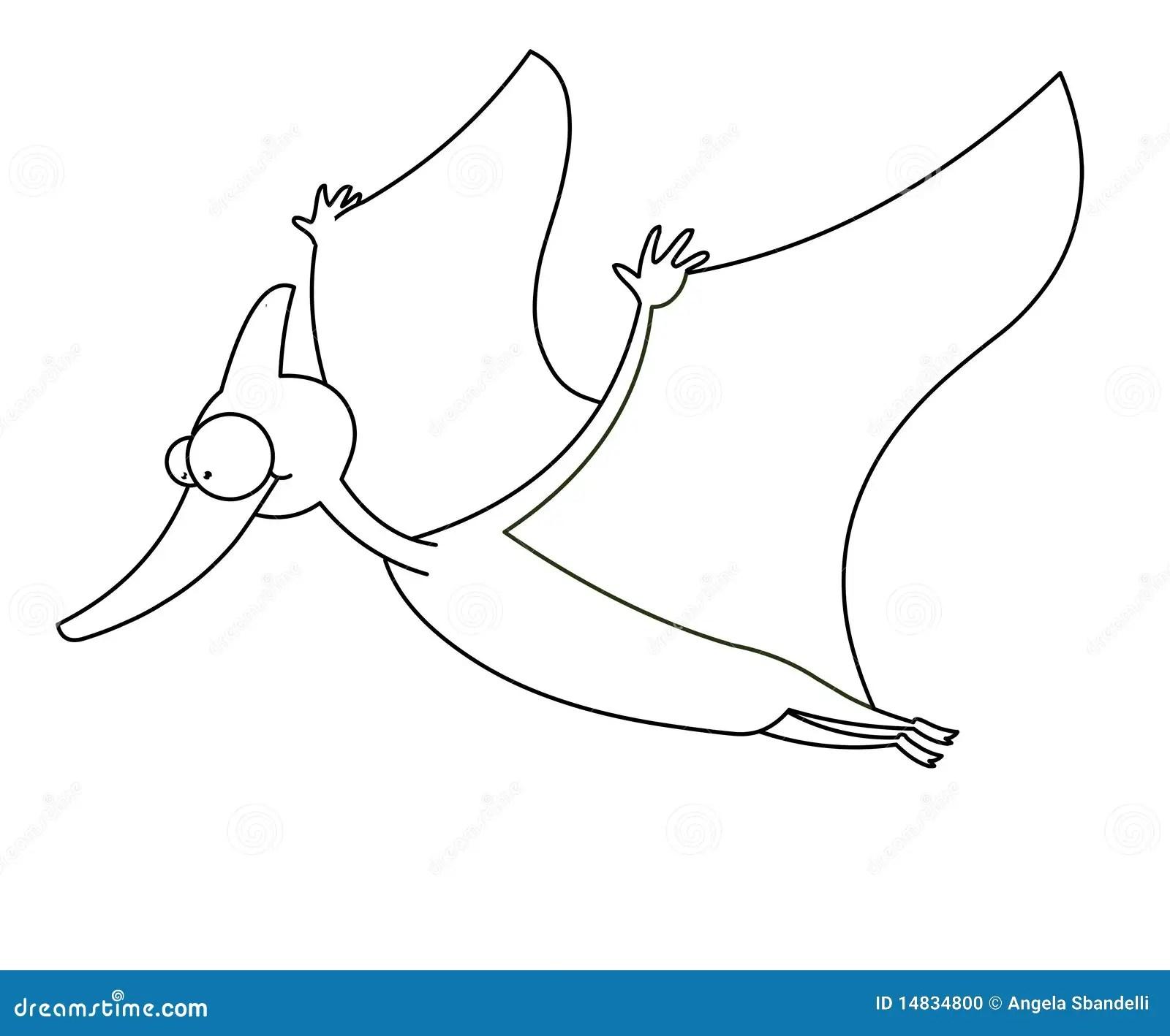 Dinosaur De Vol Noir Et Blanc Illustration Stock