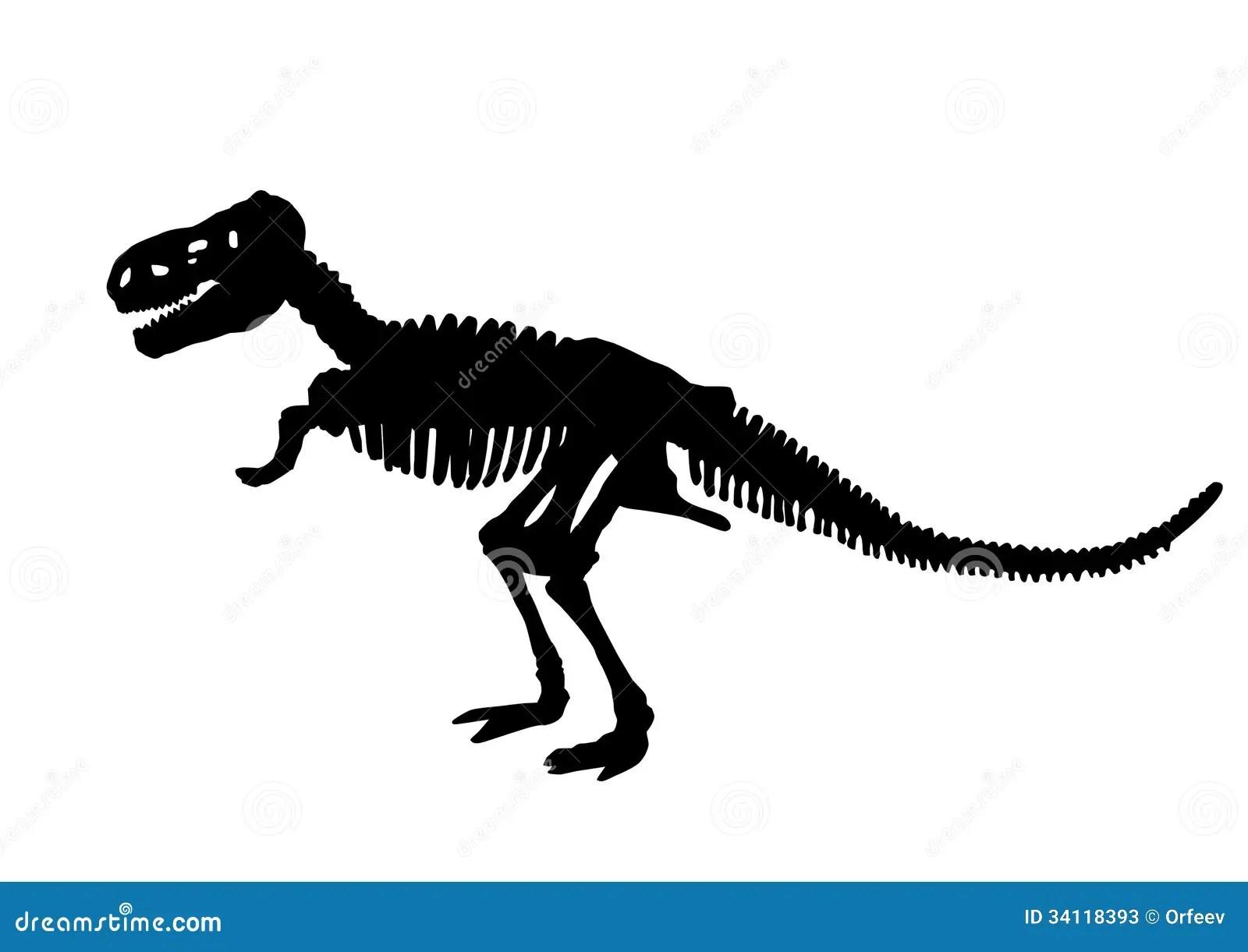 Dinosaur Skeleton Silhouette Stock Vector