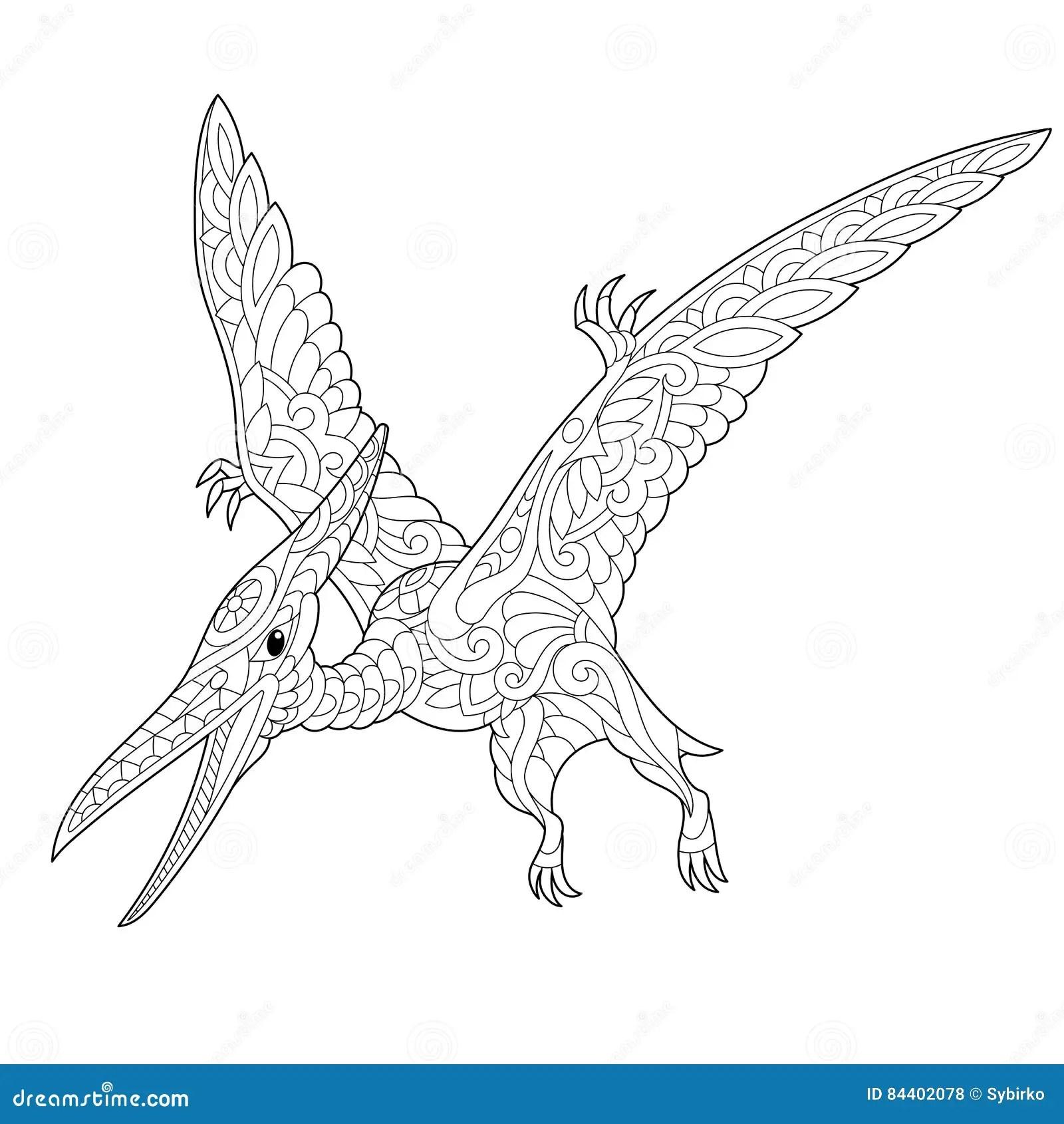 Dinosauro Del Pterodattilo Di Zentangle Illustrazione