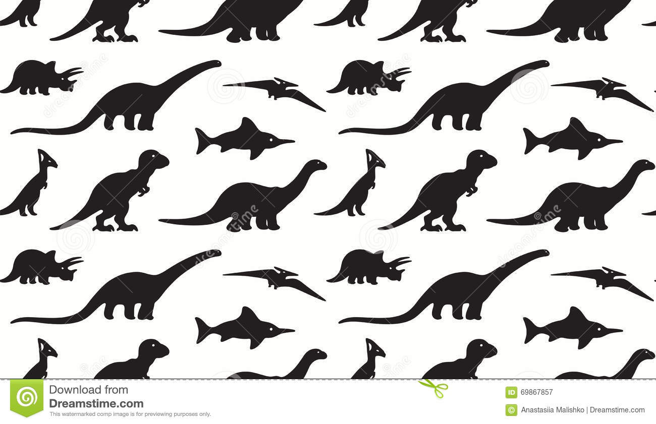 Dinosaurs Black Silhouettes On White Background Seamless