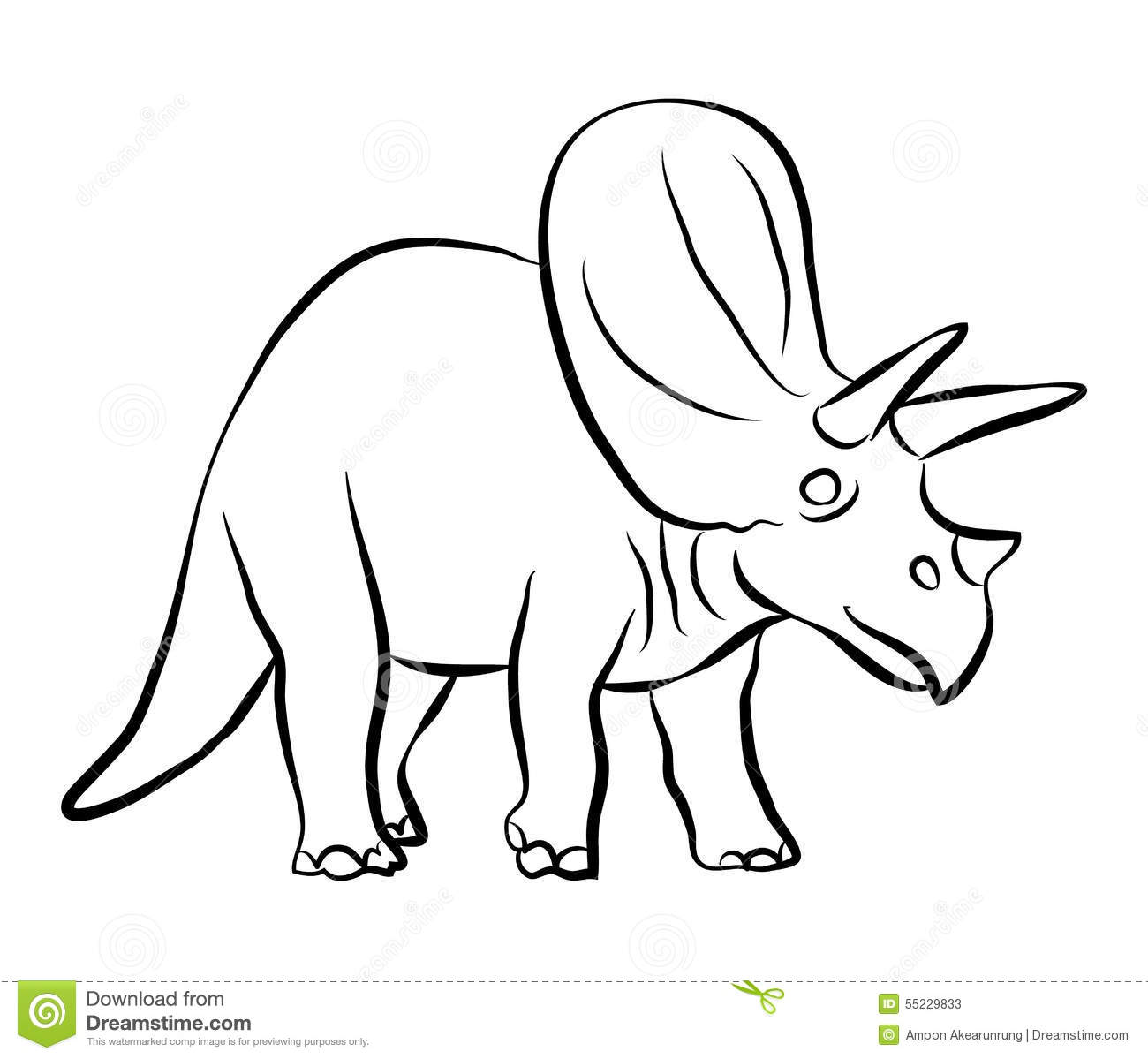 Dinosaurs Triceratops Outline Stock Vector