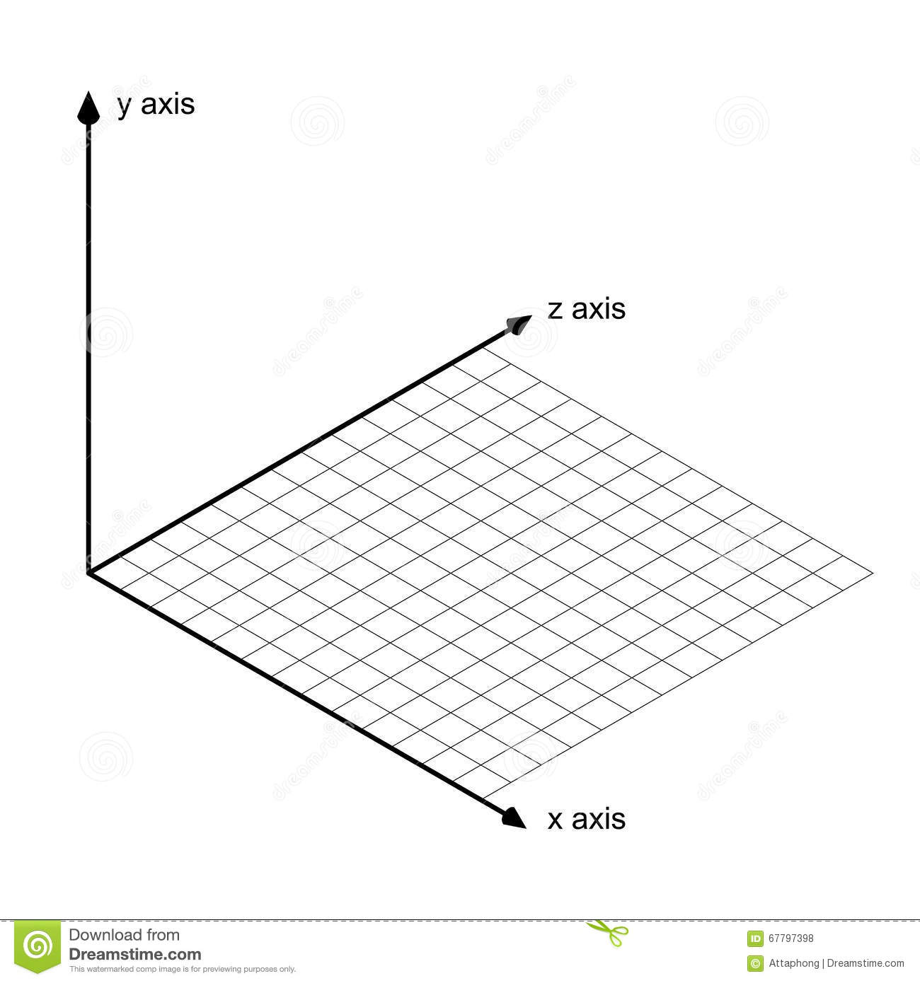 Direction Of X Y And Z Axis Vector Stock Vector