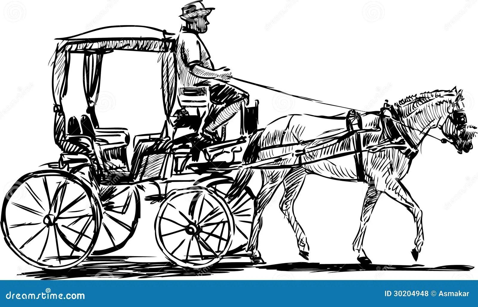 Chariot Hippomobile Illustration De Vecteur Illustration