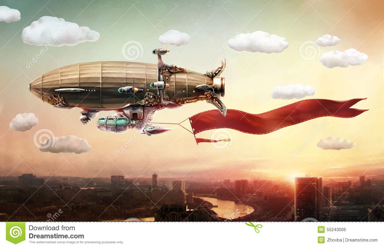 Dirigible With A Banner In The Sky Over A City Stock