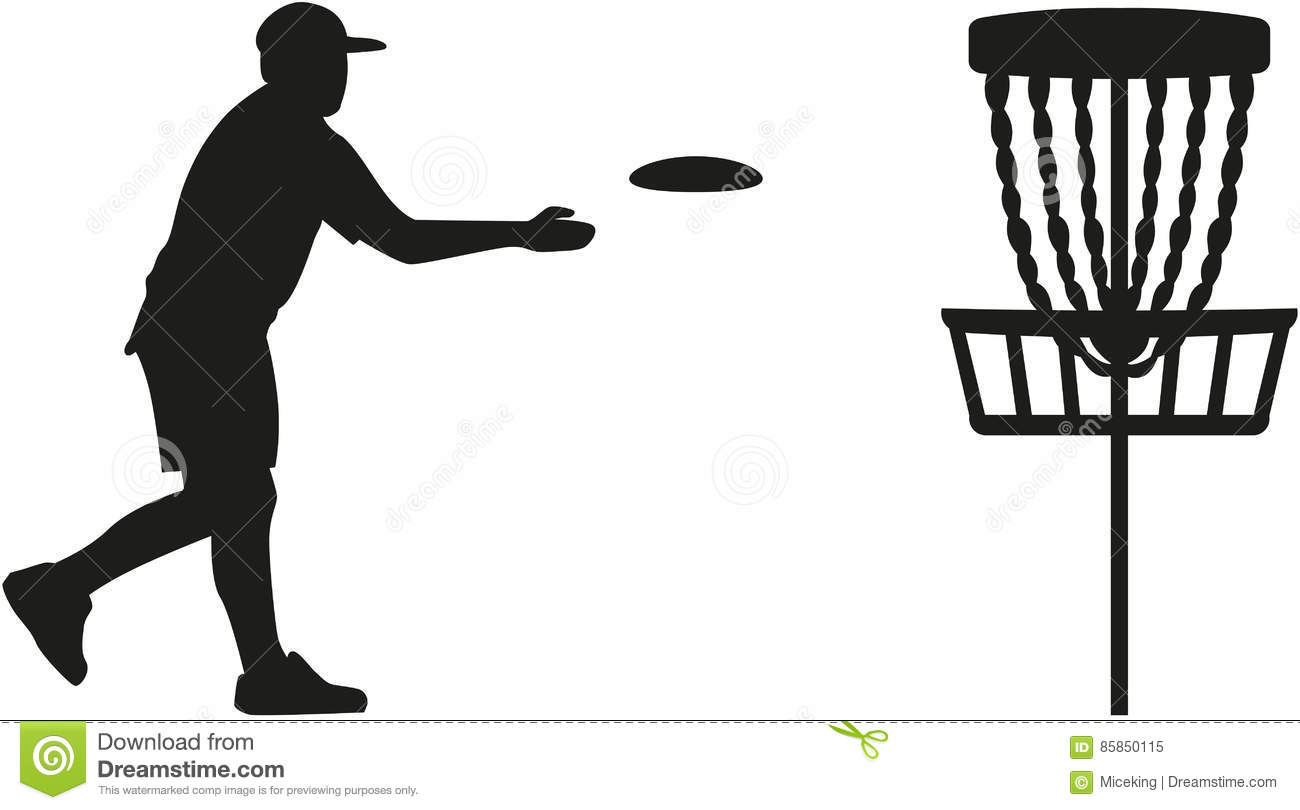 Disc Golf Player Throwing A Disc In The Basket Stock