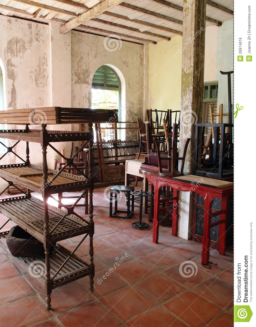 Discarded Old Furniture In Empty House Royalty Free Stock