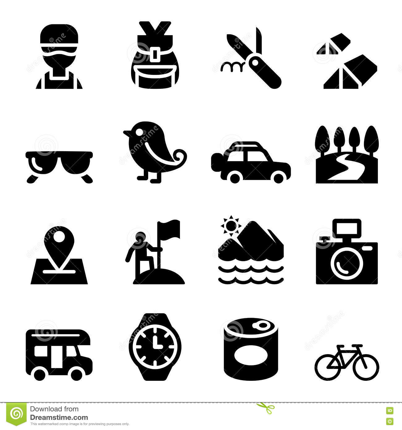 Adventure Icons Cartoon Vector
