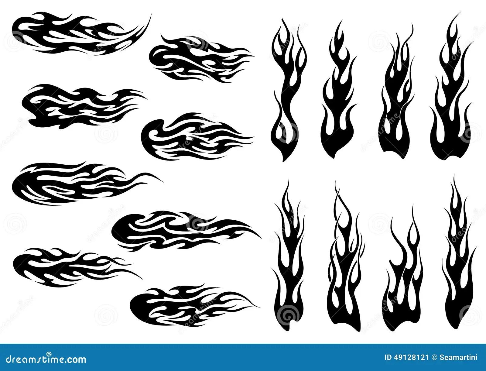 Diseno Negro Tribal Del Tatuaje De Las Llamas Del Fuego