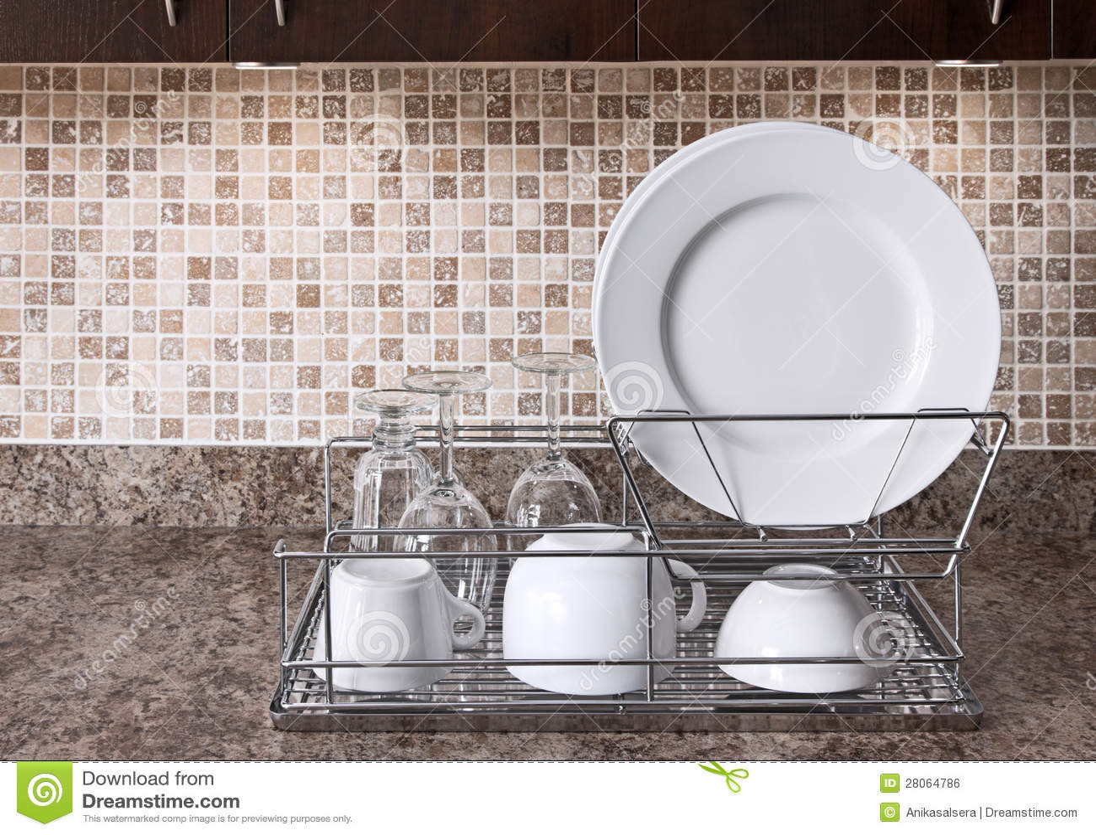 Dish Rack On Kitchen Countertop Royalty Free Stock Image