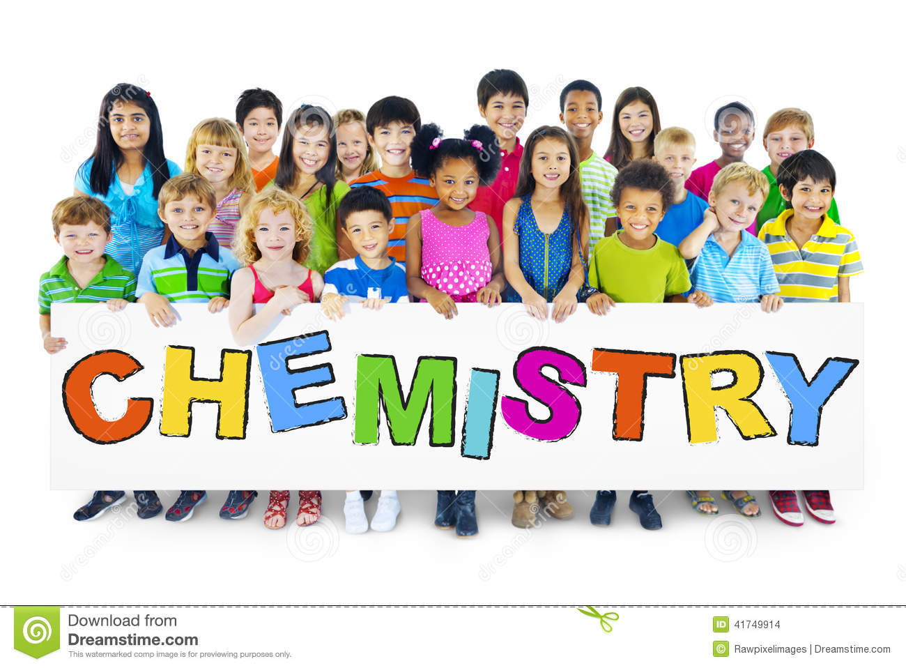 Diverse Cheerful Children Holding The Word Chemistry Stock