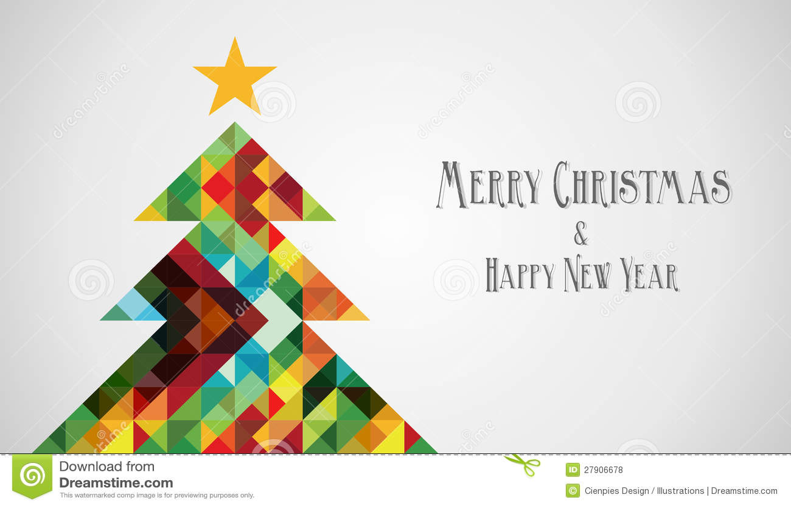 Diversity Mosaic Arty Christmas Tree Stock Vector