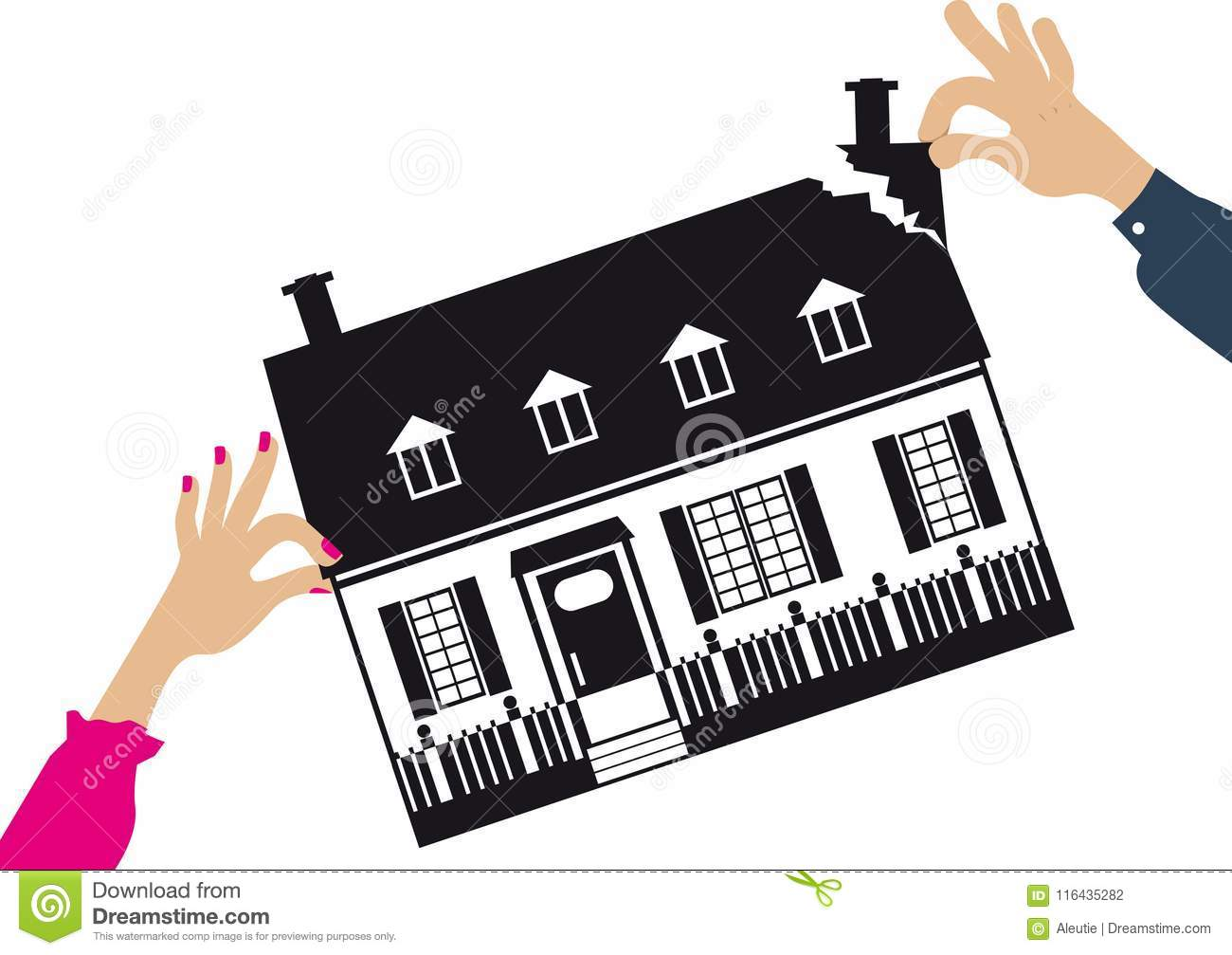Dividing House In Divorce Stock Vector Illustration Of