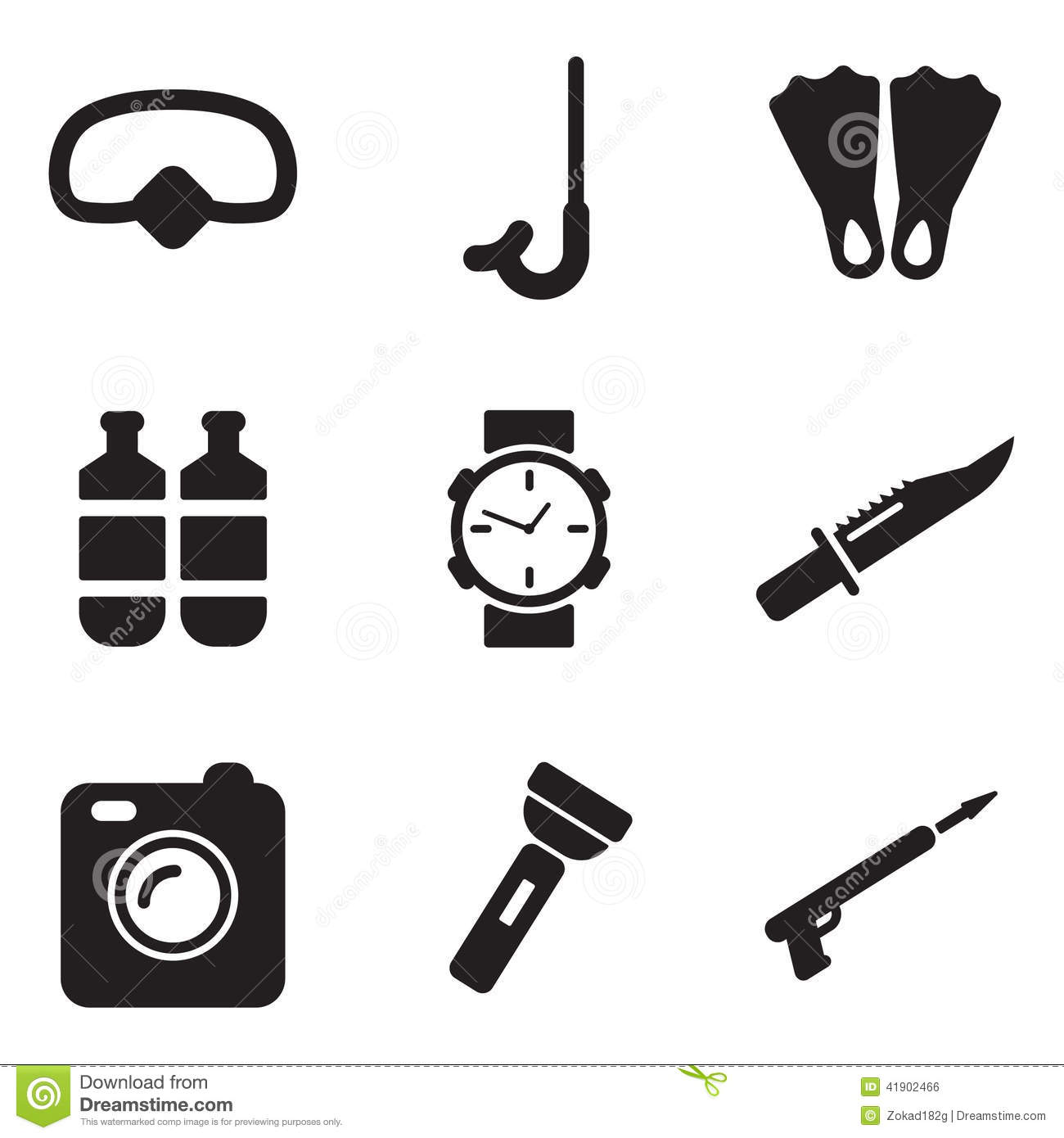 Diving Gear Icons Stock Vector
