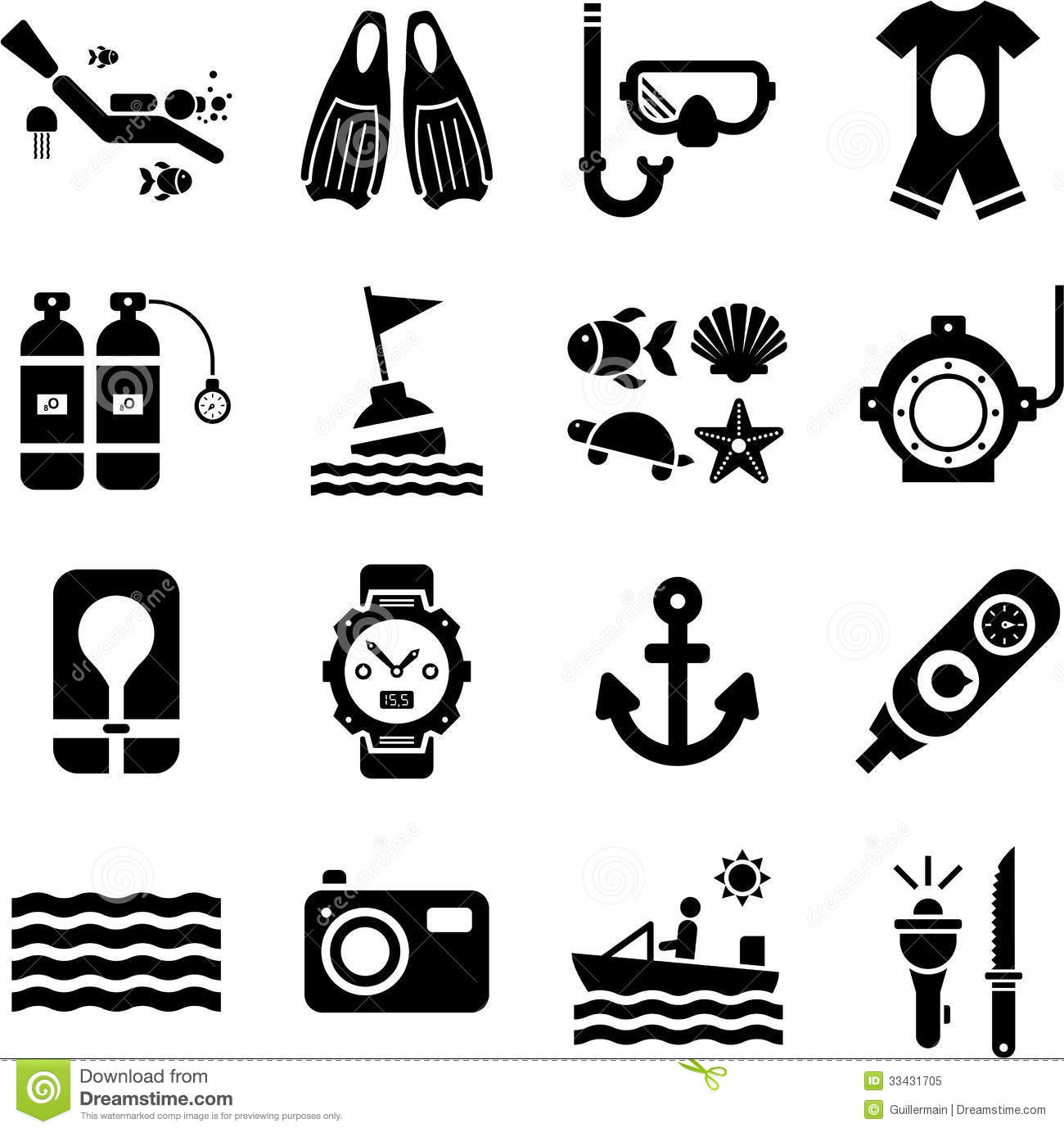 Diving Icons Stock Vector Illustration Of Diver Dive