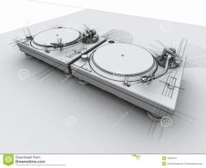 DJ Turntables 3D Sketch stock illustration Image of three  16294121
