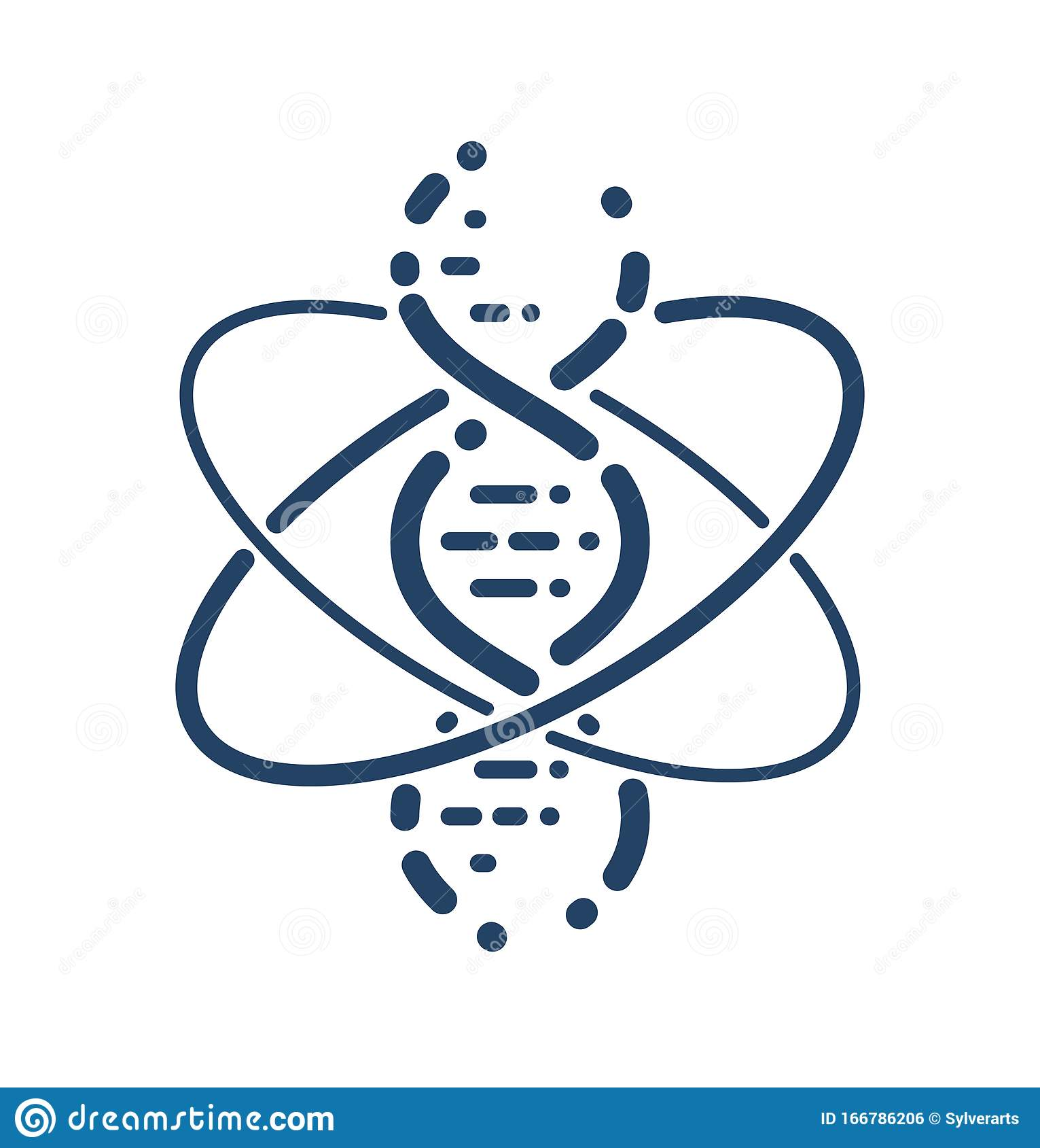 Dna Strand And Atom Vector Simple Linear Icon Science