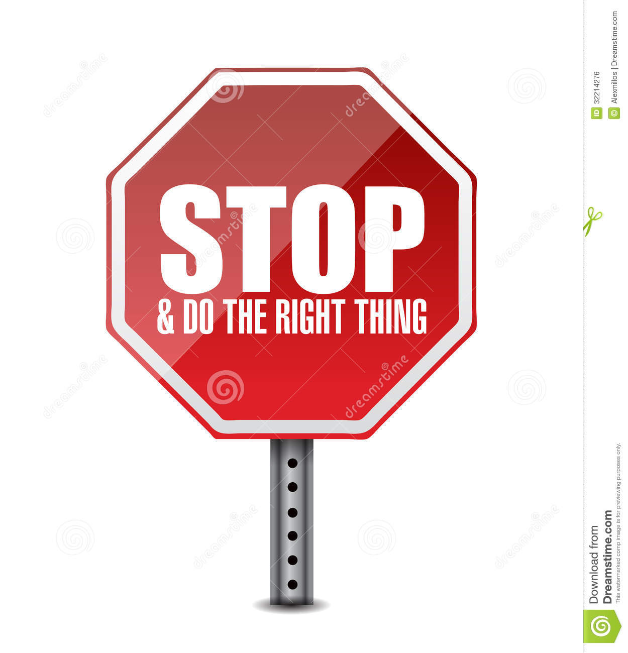 Do The Right Thing Stop Sign Illustration Design Stock