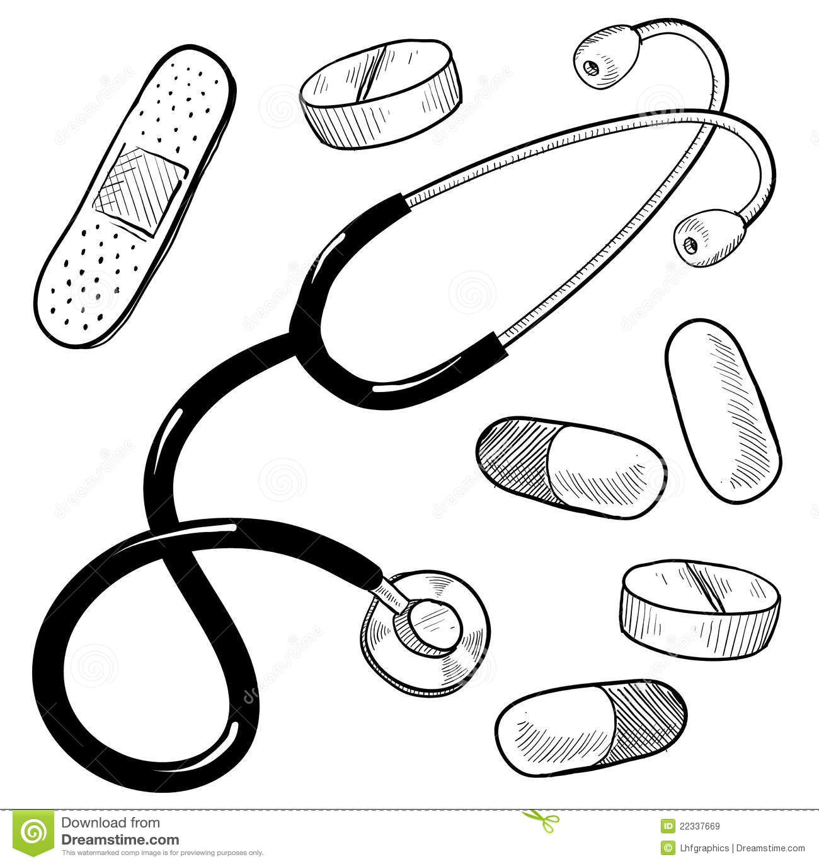 Doctor S Equipment Sketch Stock Vector Illustration Of