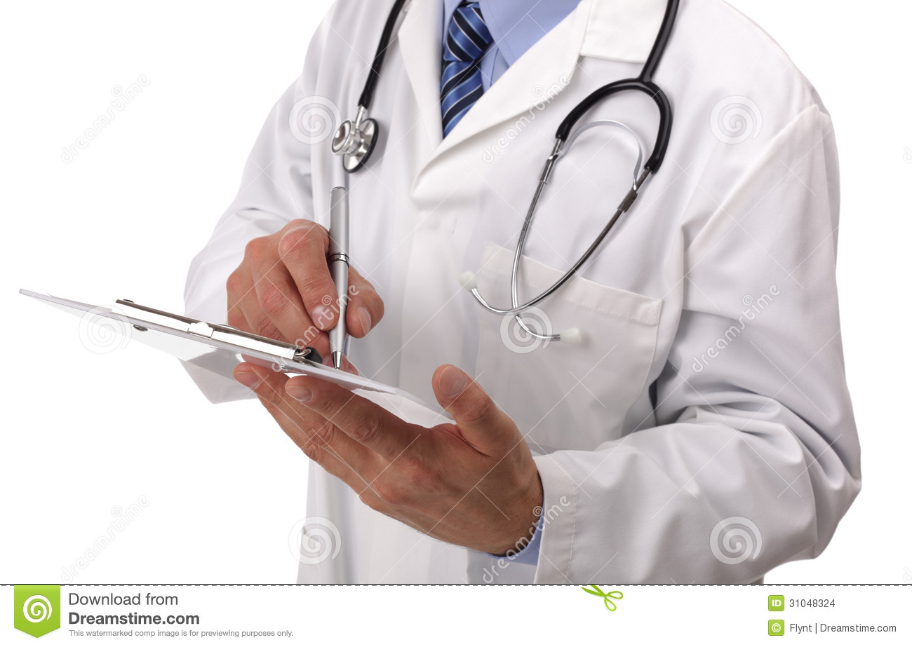 Doctor Writing On Medical Chart Stock Photo