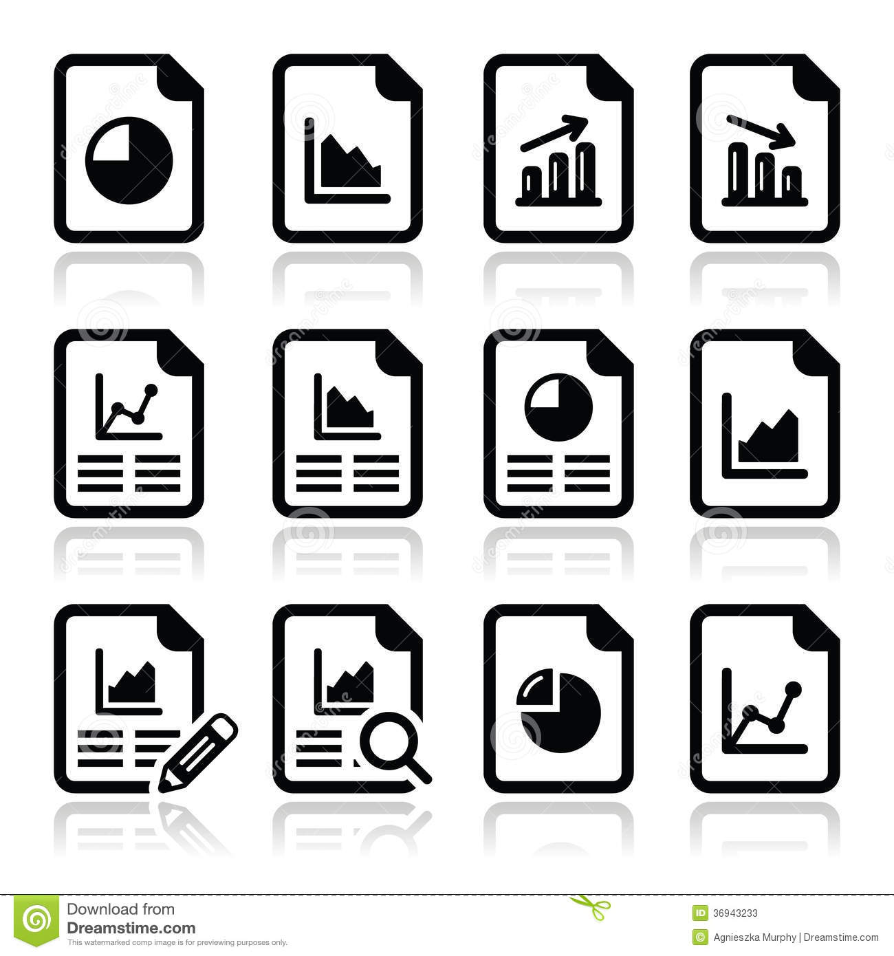 Document With Pie Chart Graph Icons Set Stock Vector