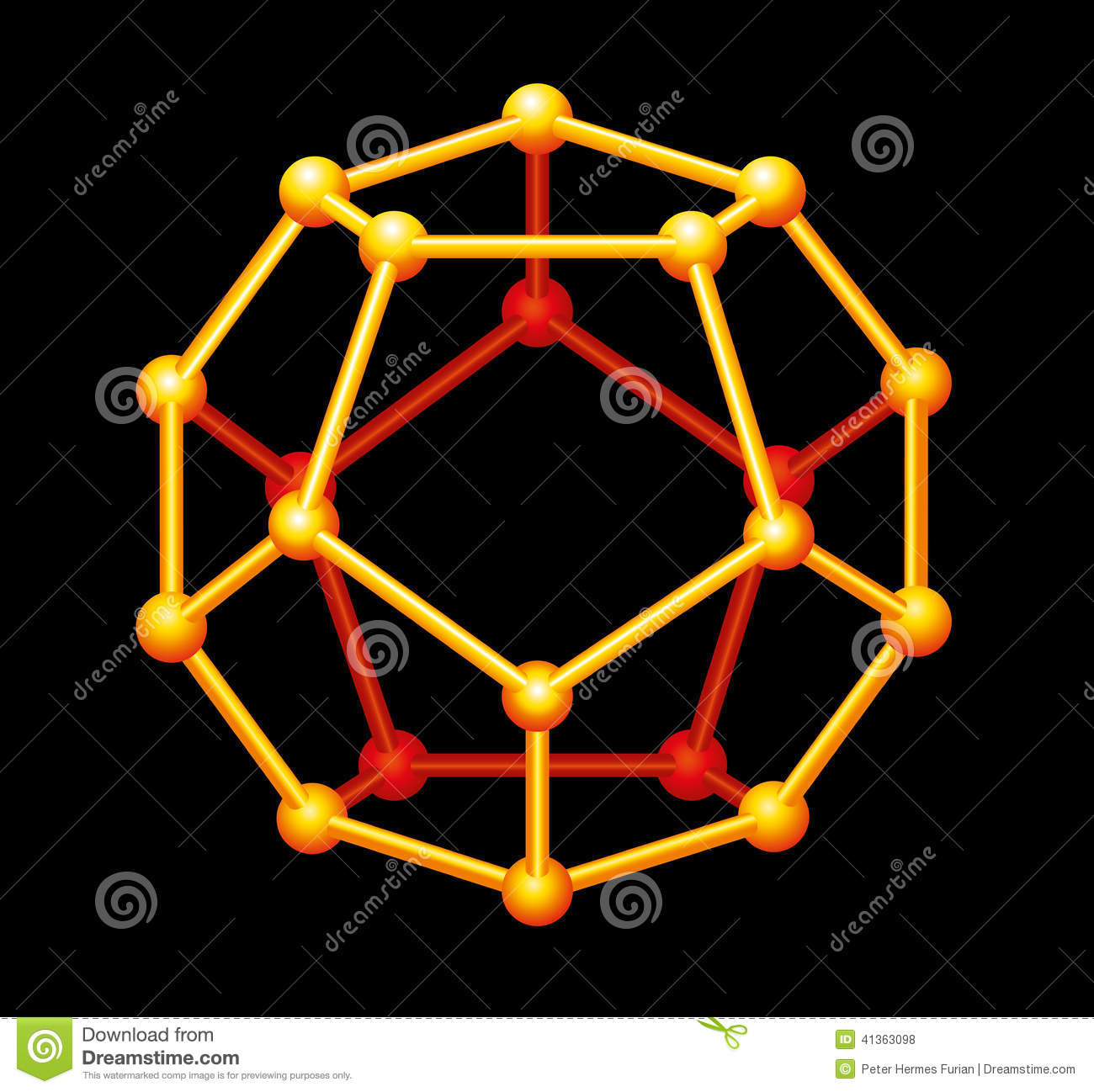 Dodecahedron Gold Three Dimensional Shape Stock Vector